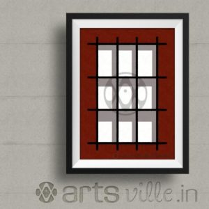 artsville-shadows-in-Grid-Modern-Framed-Painting-print-P000010PA432