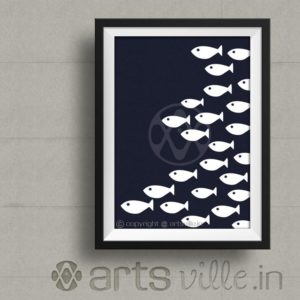 Artsville-online-paintings-india-Schooling-fish-Framed Art-P030PP