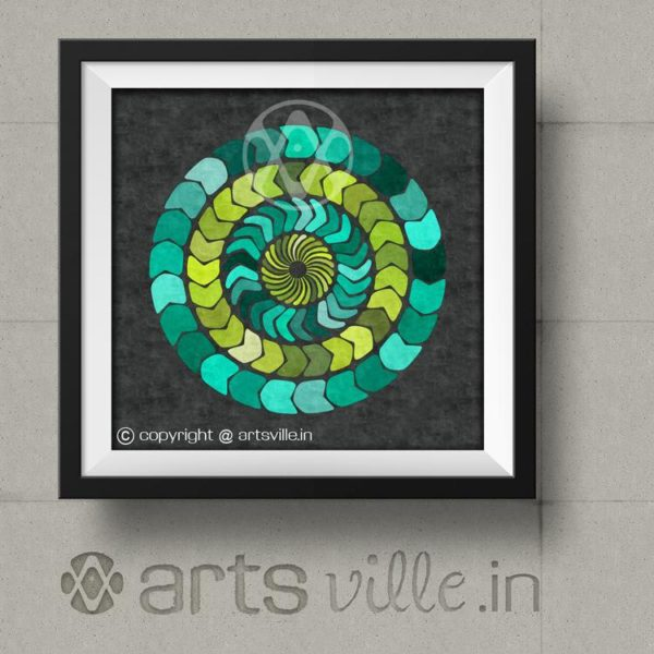 Modern-Online-Art-India-Circles-in-green-Painting-P036PS